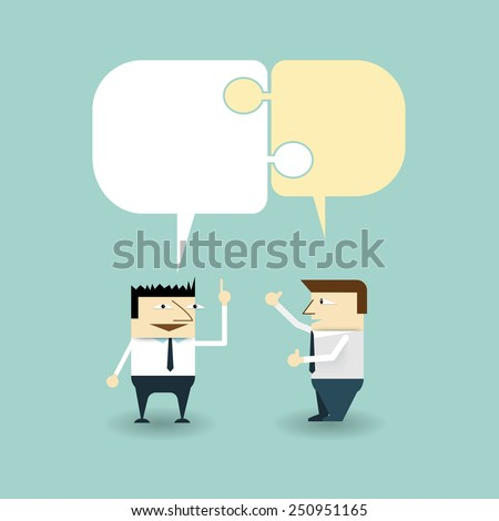 A conversation exchange between two businessmen-discussing and consensus