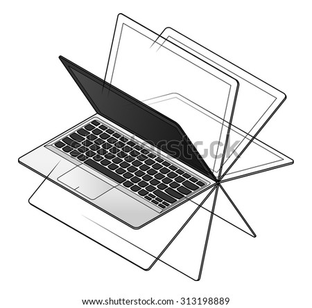 A convertible laptop/notebook computer with a 360 degree hinge. Shown with screen in different positions. - stock vector