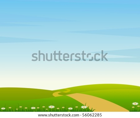 A Country Landscape with Road - stock vector