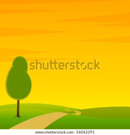 A Country Landscape with Road and Trees - stock vector
