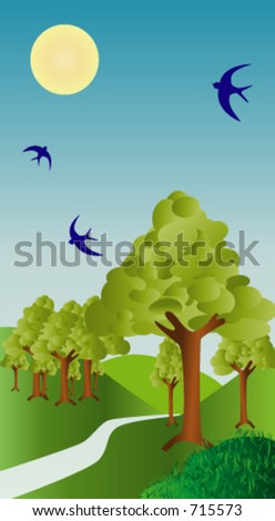 A country road winds through the hills pasta grove of trees and blue birds. - stock vector