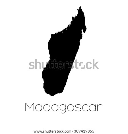 A Country Shape isolated on background of the country of Madagascar - stock vector