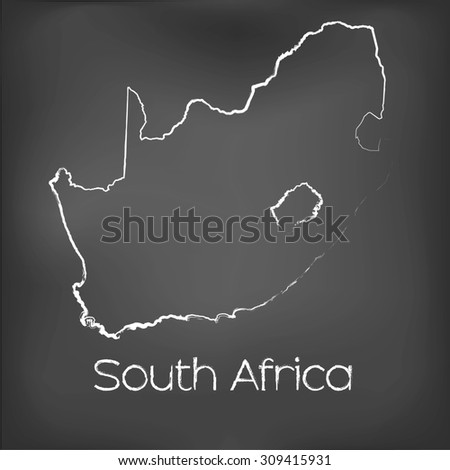 A Country Shape isolated on chalk board with the name and shape of South Africa - stock vector