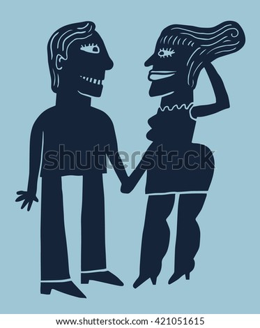 A couple holding hands - stock vector