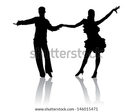 A couple in costumes dancing Latin dances. - stock vector