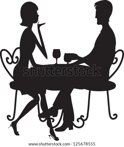 A couple in silhouette sitting at a table, conversing and drinking from stemmed glasses. - stock vector