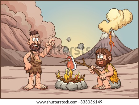 A couple of cavemen discussing over a fire. Vector clip art illustration with simple gradients. Cavemen and background on separate layers. - stock vector