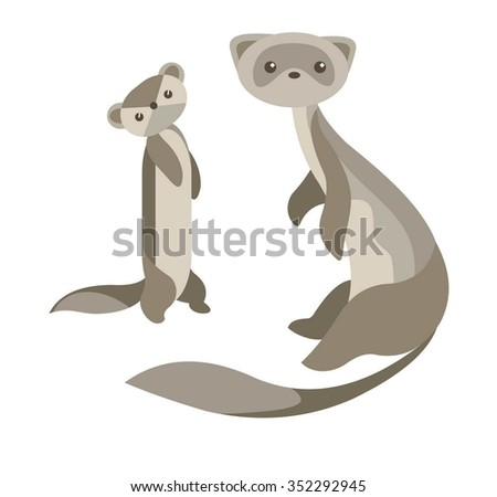 A couple of cute cartoon polecats