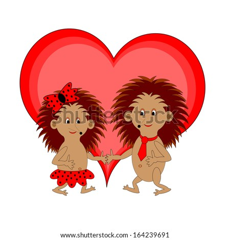A couple of funny cartoon hedgehogs with a red heart. Vector-art illustration on a white background - stock vector