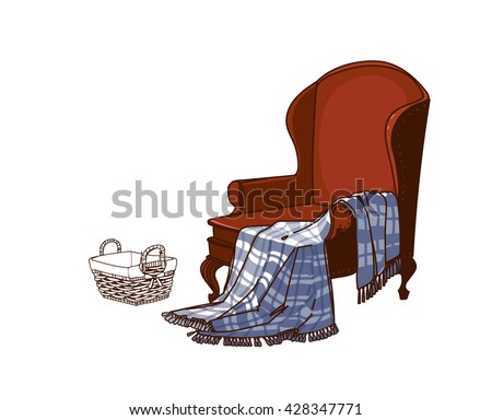 warm blanket clipart. a cozy armchair and warm blanket basket for crafts magazines or small things clipart