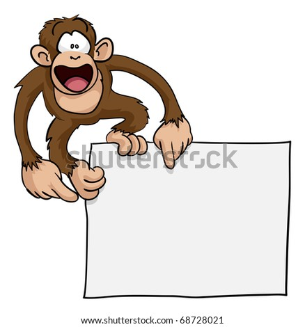 A crazy cute excited monkey pointing at a blank sign with copy-space illustration - stock vector