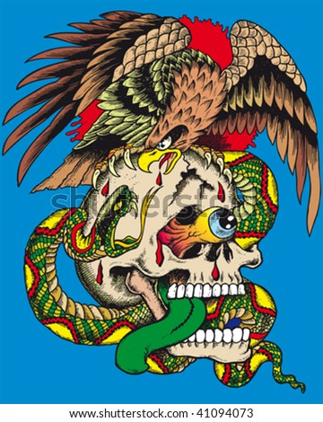 a crazy illustration of a skull with a snake and an eagle - stock vector