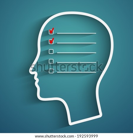 A creative concept of human memory with head and check boxes - stock vector