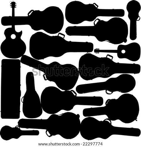 A creative music vector background of guitars and guitar cases - stock vector
