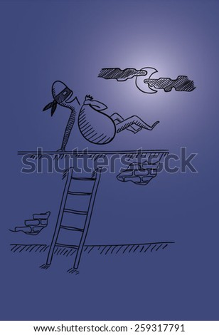 A criminal jumping over the wall after stealing a full bag of things. A scene in the moonlight. EPS10 vector illustration - stock vector