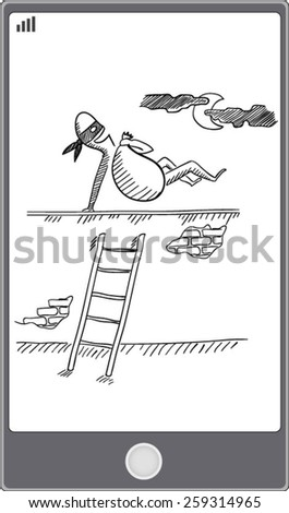 A criminal running away after stealing from a mobile device vector EPS10 illustration  - stock vector