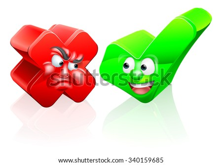 A cross or X no icon and green tick check mark icon yes icon with cartoon faces - stock vector