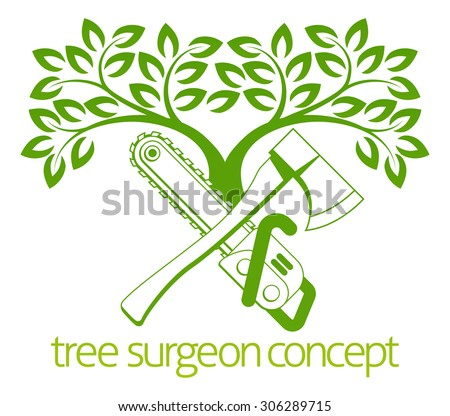 A crossed axe and chainsaw and tree Tree Surgeon or gardener concept design - stock vector
