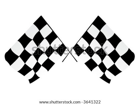 A crossed pair of checkered racing flags - stock vector