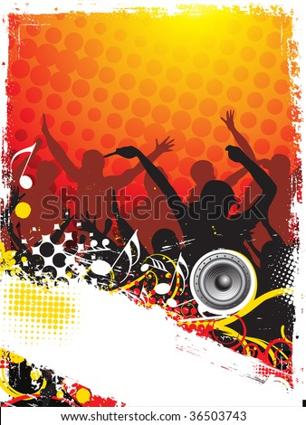 A crowd of party people vector with music concept - stock vector