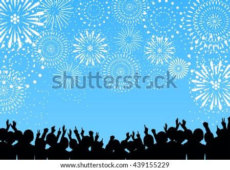 A crowd of people and fireworks. Vector illustration - stock vector