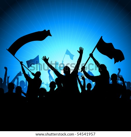 A crowd of people with flags and banners. Vector illustration - stock vector