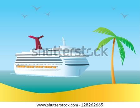 A cruise ship arriving at a tropical island destination. - stock vector