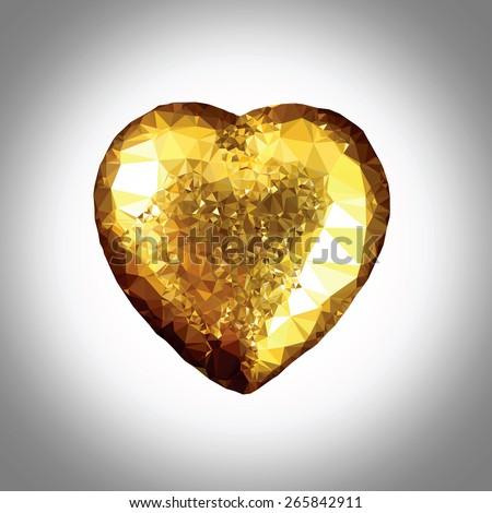 A crystal golden heart, low poly vector illustration.  - stock vector