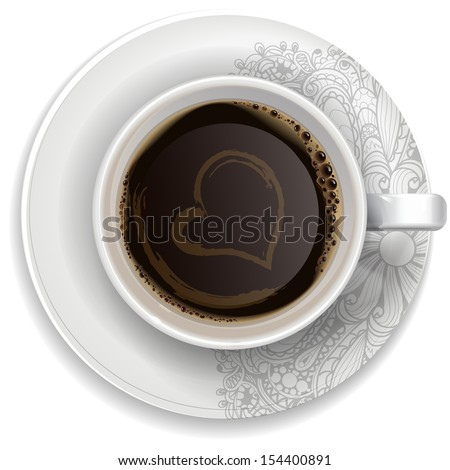 A cup of black coffe on a saucer with ornament. Realistic vector - stock vector