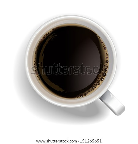 A cup of black coffee.Realistic vector - stock vector