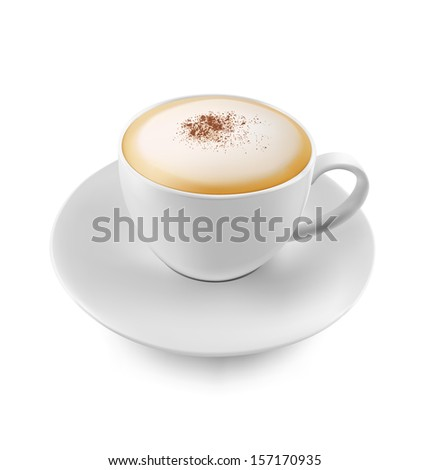 A cup of cappuccino and cinnamon isolated over white background. Vector illustration. Realistic. - stock vector