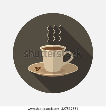 A cup of coffee. Flat illustration  - stock vector