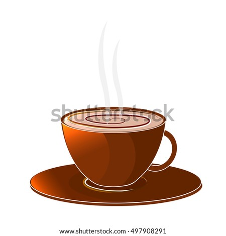 A cup of coffee. Isolated object on a white background. Vector illustration. design element.