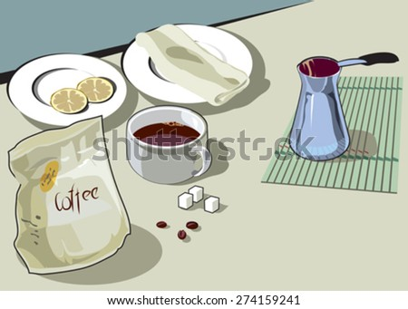 A cup of coffee. Serving breakfast. Vector
