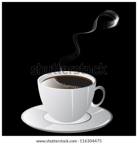 A cup of coffee with smoke and saucer on black background. Vector Illustration. - stock vector