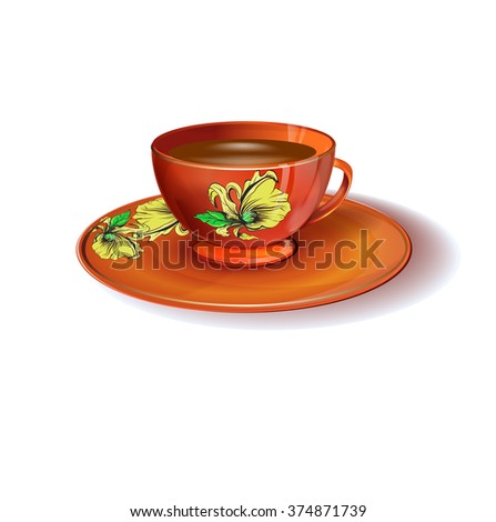 A cup of tea. Isolated vector illustration