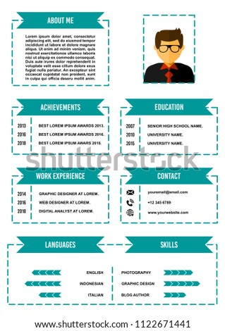 a 4 curriculum vitae resume design template stock vector royalty