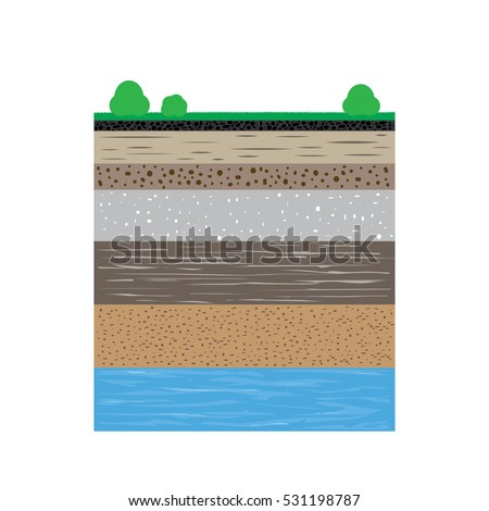 Cut soil profile grass layers earth stock vector 531198787 for 5 layers of soil