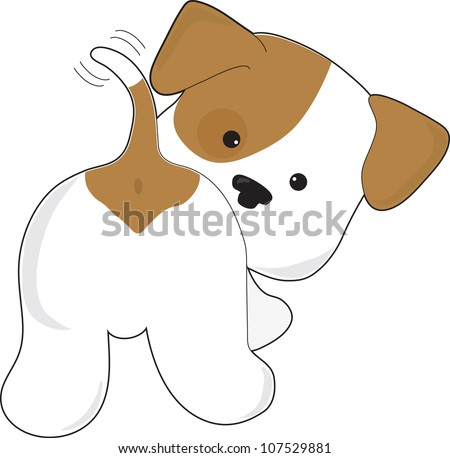 A cute brown and white puppy with a view from behind, as the puppy looks back towards the viewer. Cute Puppy Rear View - stock vector