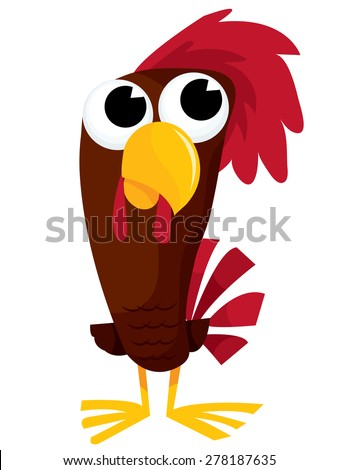 A cute brown cartoon rooster vector illustration - stock vector