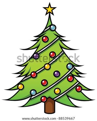 A cute cartoon Christmas tree on white. Vector. - stock vector