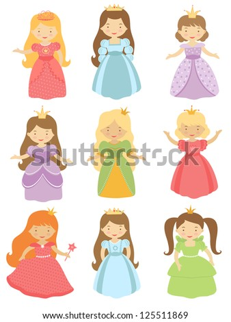 A cute collection of beautiful princesses - stock vector