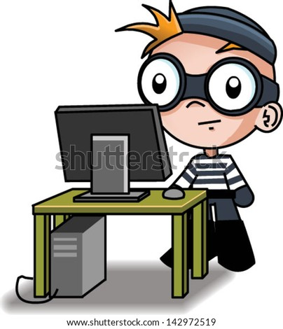 A cute computer hacker - Vector clip art illustration on white background - stock vector