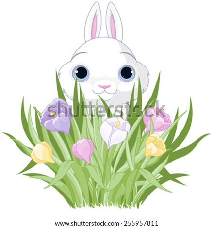 A cute Easter bunny sits in the crocus bouquet - stock vector