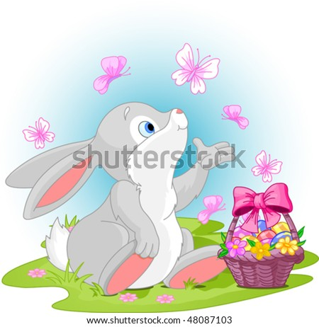 A cute Easter bunny sitting near Easter eggs basket. - stock vector