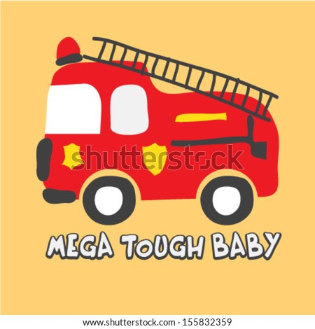 A Cute Fire Truck - stock vector