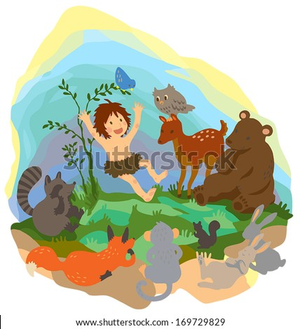 A cute friendly jungle boy Tarzan is playing and jumping with fun to his wild animals friend in the wilderness wood scene in isolated background, create by cartoon vector