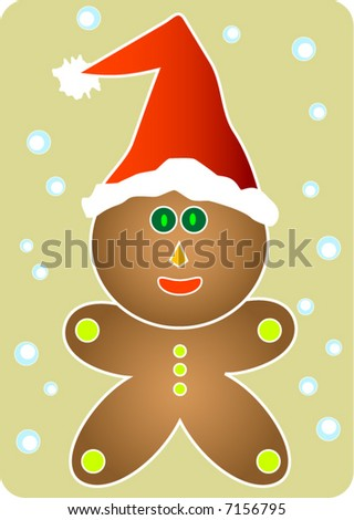 A cute gingerbread man with red Santa's hat. Snow falling in the background.