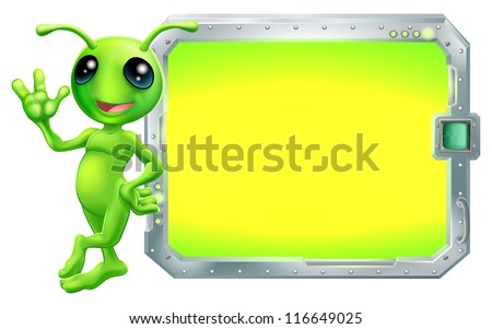 A cute green alien with a sign or screen with copyspace - stock vector