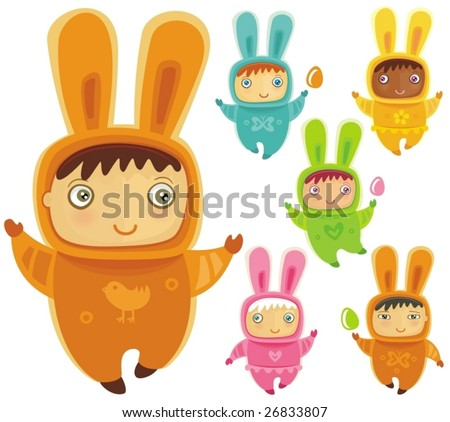 A cute little babies dressed as an Easter Bunnies with Easter eggs - stock vector
